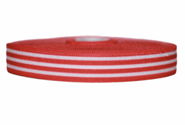 Elastisch biaisband rood-wit gestreept 16 mm, per 0,5 m