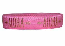 Elastisch band roze aloha tekst 16 mm per 0,5 meter