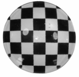 Glascabochon 20mm black & white