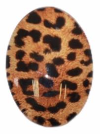 Glas flatback cabochon panter bruin/zwart 18 x 25 mm