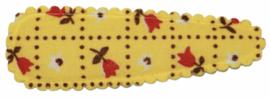 kniphoesje katoen geel met tulpen 5 cm