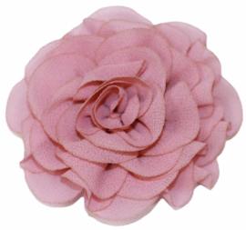Stoffen bloem 6 cm oud roze