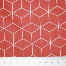 Katoen: cubes roestrood, per 25 cm