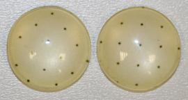 Glas flatback cabochon 12mm cremewit met stipje per 2 stuks