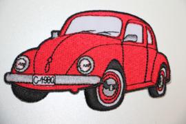 Applicatie VW Kever rood 9,5 x  6 cm