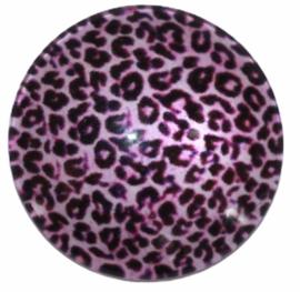 Glascabochon 20mm panter roze