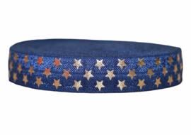 Elastisch band marineblauw + gouden sterretjes 16 mm per 0,5 meter