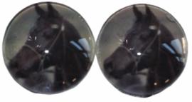 Glas flatback cabochon 12 mm paard, 2 stuks
