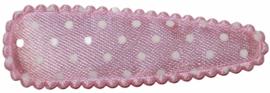 kniphoesje lichtroze met witte stip satijn 5 cm