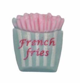 Flatback patatje lichtblauw/roze 16x13mm