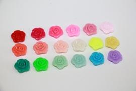 Roosje 12 mm met gat flatback diverse kleuren