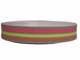 Zilver lurex neon roze, neon geel, neon oranje elastiek 40 mm per 0,5 meter