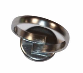Ring RVS dia 17mm verstelbaar +setting 12mm, per stuk