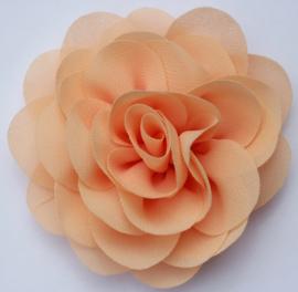 Stoffen bloem 8 cm perzik