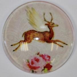 Glas cabochon 25mm: Hert met vleugels