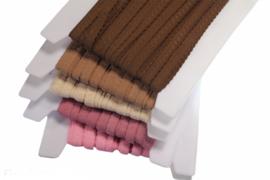 Elastische biaisband met schulprandje (vouwkant) lichtbruin 10mm per 0,5 meter