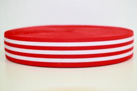 Rood wit gestreept elastiek 40 mm per 0,5 meter