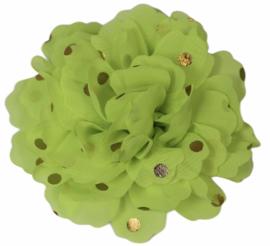 Stoffen bloem: neon geel met gouden stip 10 cm