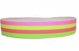 Neon gestreept elastiek 40 mm per 0,5 meter