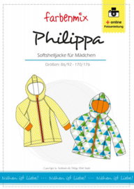 Farbenmix papier patroon Philippa, softshell jack 86/92 - 170/176