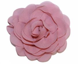 Stoffen bloem 8 cm oudroze