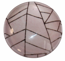 Glas cabochon 25mm: Zachtroze met lijnen