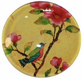 Glas cabochon 25mm: vogeltje op tak geel