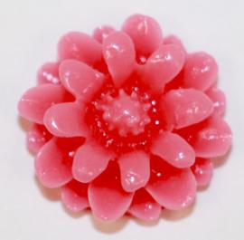 Flatback bloemetje roze 12mm, per stuk