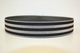 Elastiek lurex zwart zilver 40 mm per 0,5 meter
