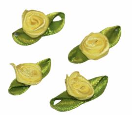 Mini roosjes met blad 25x15 mm geel per 4 stuks