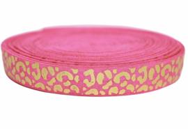 Elastisch band fuchsia roze met gouden panterprint 16 mm per 0,5 meter