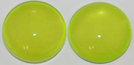 Glas flatback cabochon 12mm limegroen per 2 stuks