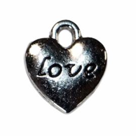 Hartje met LOVE antiek zilver 11x10 mm, per stuk