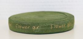 Elastisch band groen flower girl gouden tekst 16 mm per 5 meter