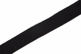 Koord plat 20mm zwart, per meter