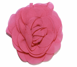 Stoffen bloem 8 cm fuchsiaroze