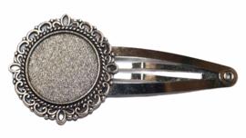 Haarclip met sierrand oud-zilver, setting 20 mm