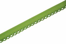 Biaisband met kant limegroen per meter