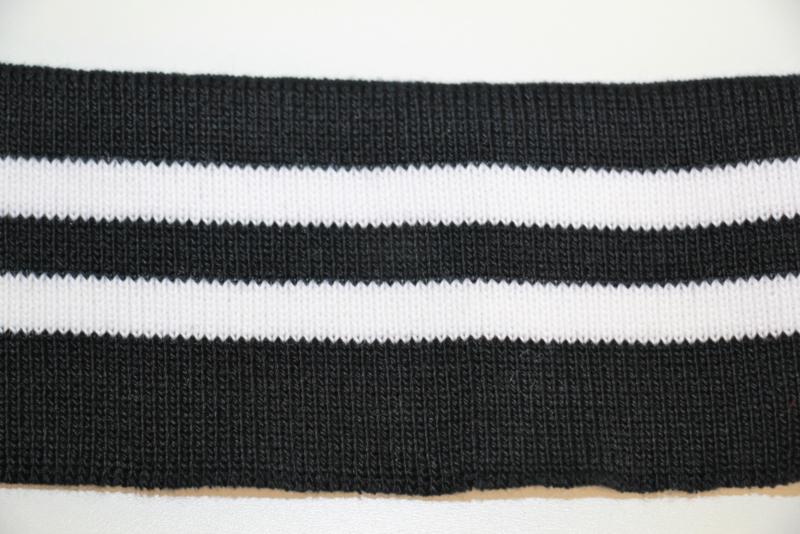 Boord zwart wit gestreept dubbelgevouwen 5cm breed, 65 cm lang