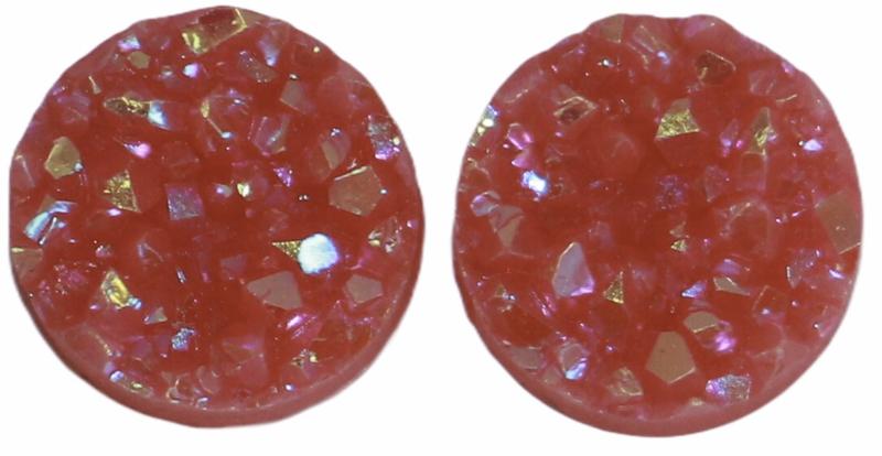 Flatback rondjes shiny roze 10 mm, per paar