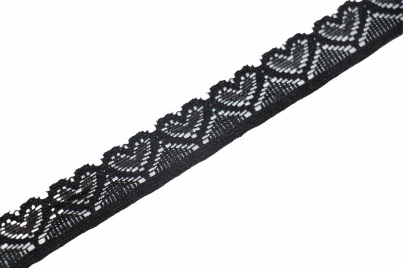 Elastisch kant hartjes zwart 18mm, per 0,5 meter