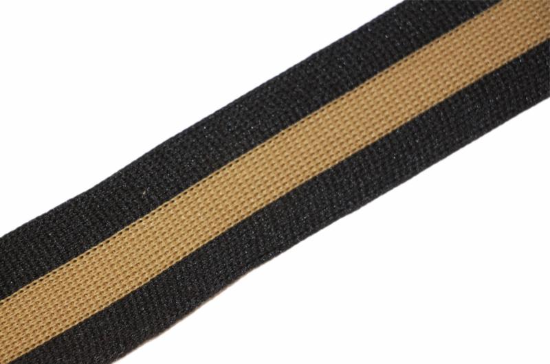 'Broek' streep: zwart-goud gebreid band +/- 30mm, per 0,5 meter