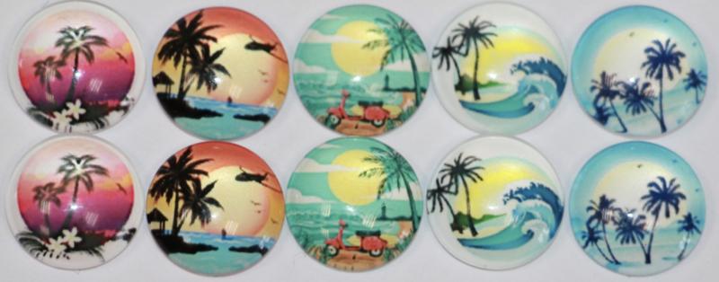 Glas cabochons 12 mm Hawaii (1): 10 stuks