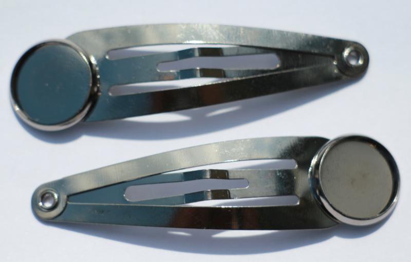 Klik-klak haarspeldje gunblack 5,5 cm met 12 mm cabochon setting