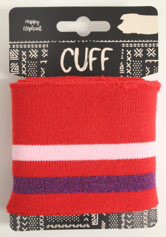 Cuff two stripes rood- lichtroze/paars 7x110 cm
