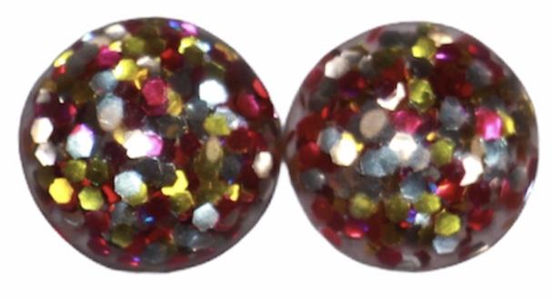 Flatback cabochon glitter roze/goud/zilver 12 mm, per 2 stuks