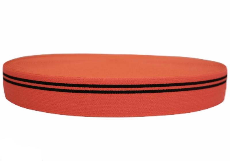 Neonoranje met zwarte streep elastiek 30 mm per 0,5 meter