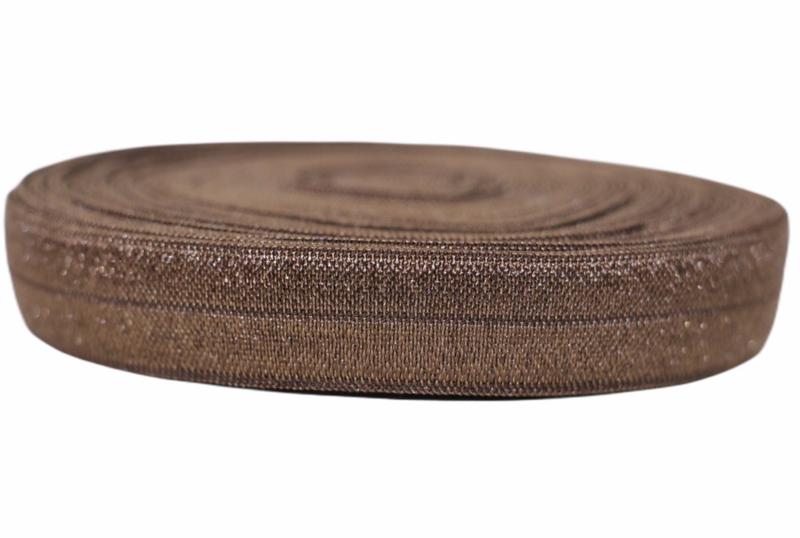 Elastisch band chocoladebruin 16 mm per 0,5 meter