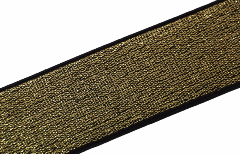 Elastiek lurex goud/zwart 40 mm per 0,5 meter
