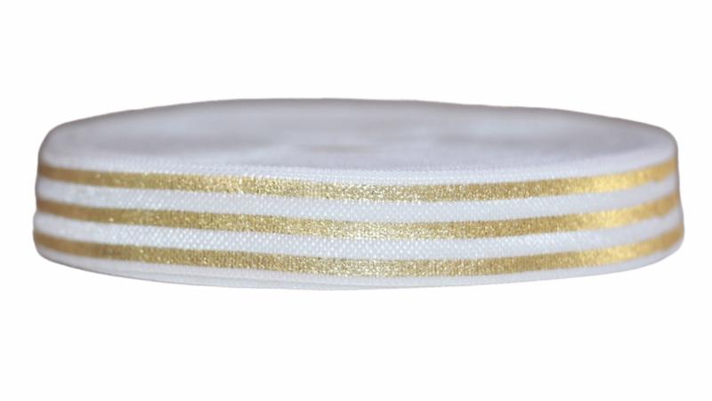 Elastisch band wit goud gestreept 16 mm per 0,5 meter